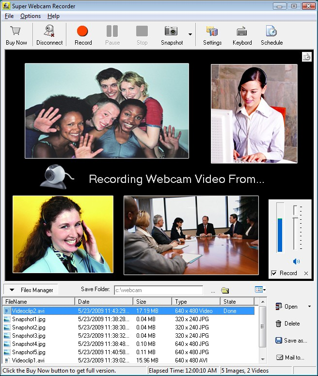 video to webcam